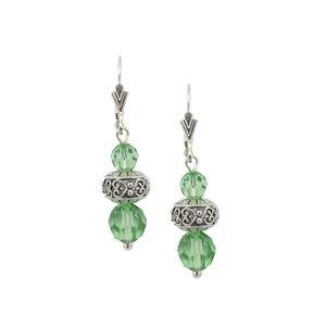 Sterling Silver Peridot Crystal Dangle Earrings